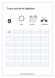 English Worksheet - Alphabet Writing - Small Letter s