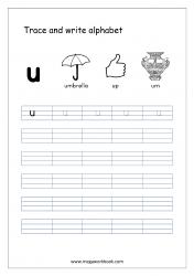 English Worksheet - Alphabet Writing - Small Letter u