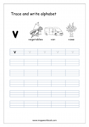 English Worksheet - Alphabet Writing - Small Letter v