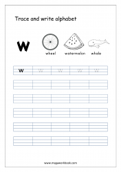 English Worksheet - Alphabet Writing - Small Letter w