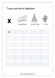 Alphabet Writing - Alphabet Writing Worksheets - Lowercase/Small Letter x