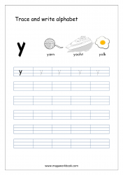 English Worksheet - Alphabet Writing - Small Letter y