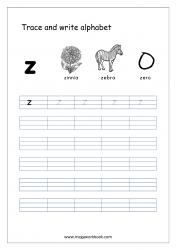 Alphabet Writing - Alphabet Writing Worksheets - Lowercase/Small Letter z
