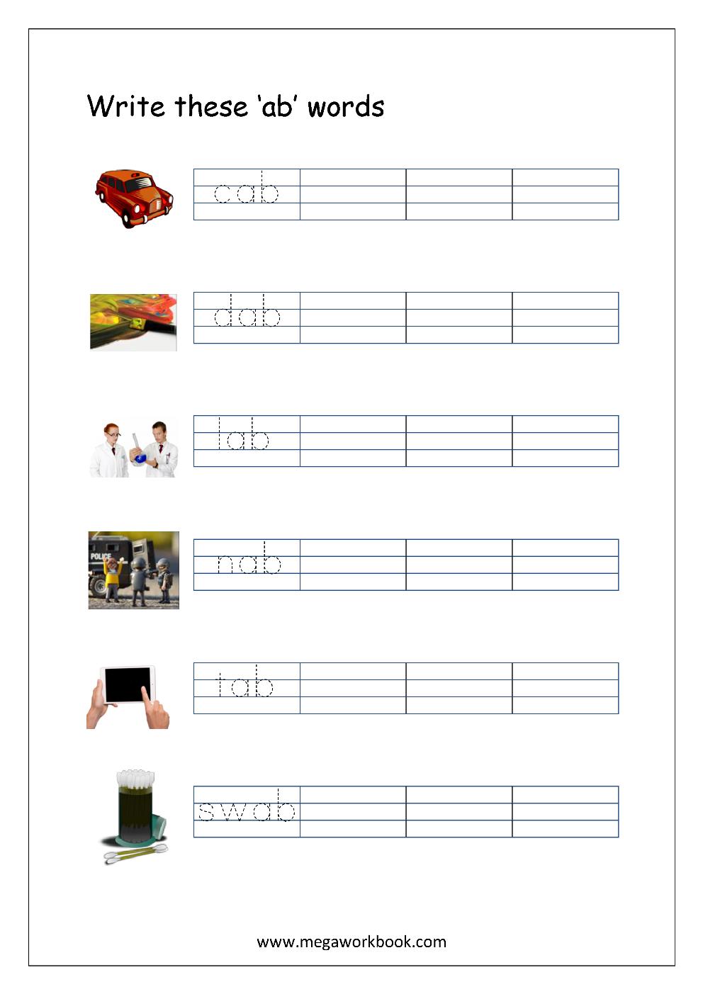 Free Printable Cvc Words Writing Worksheets For Kids Three Letter Rhyming Words For Kindergarten Megaworkbook