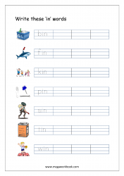 CVC Words Ending With 'in' (CVC Words Writing Worksheets)