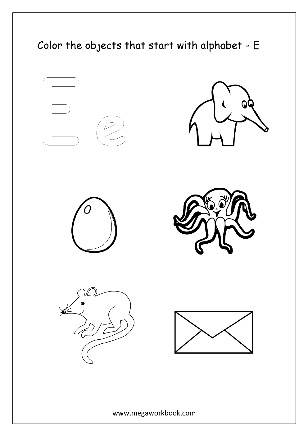 objects that start with e free worksheets alphabet picture coloring 13674