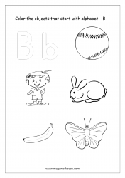 English Worksheet - Color Only The Objects Starting With Alphabet B