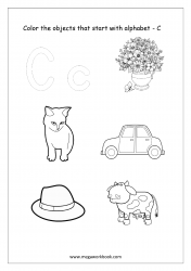 English Worksheet - Color Only The Objects Starting With Alphabet C