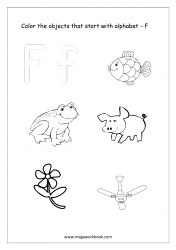 English Worksheet - Color Only The Objects Starting With Alphabet F