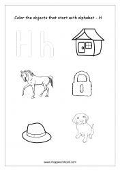 English Worksheet - Color Only The Objects Starting With Alphabet H