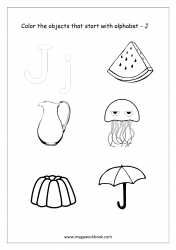 English Worksheet - Color Only The Objects Starting With Alphabet J