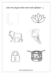 English Worksheet - Color Only The Objects Starting With Alphabet L