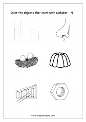 English Worksheet - Color Only The Objects Starting With Alphabet N