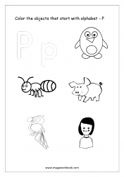 English Worksheet - Color Only The Objects Starting With Alphabet P