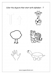English Worksheet - Color Only The Objects Starting With Alphabet T