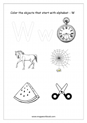 English Worksheet - Color Only The Objects Starting With Alphabet W