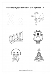 English Worksheet - Color Only The Objects Starting With Alphabet X