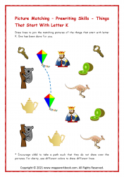 Things Starting With K - Letter K Worksheet & Printable Activity
