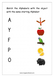 Worksheet - Match Object With The Starting Alphabet (Capital Letters)