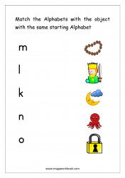 Worksheet - Match Object With The Starting Alphabet (Small Letters)