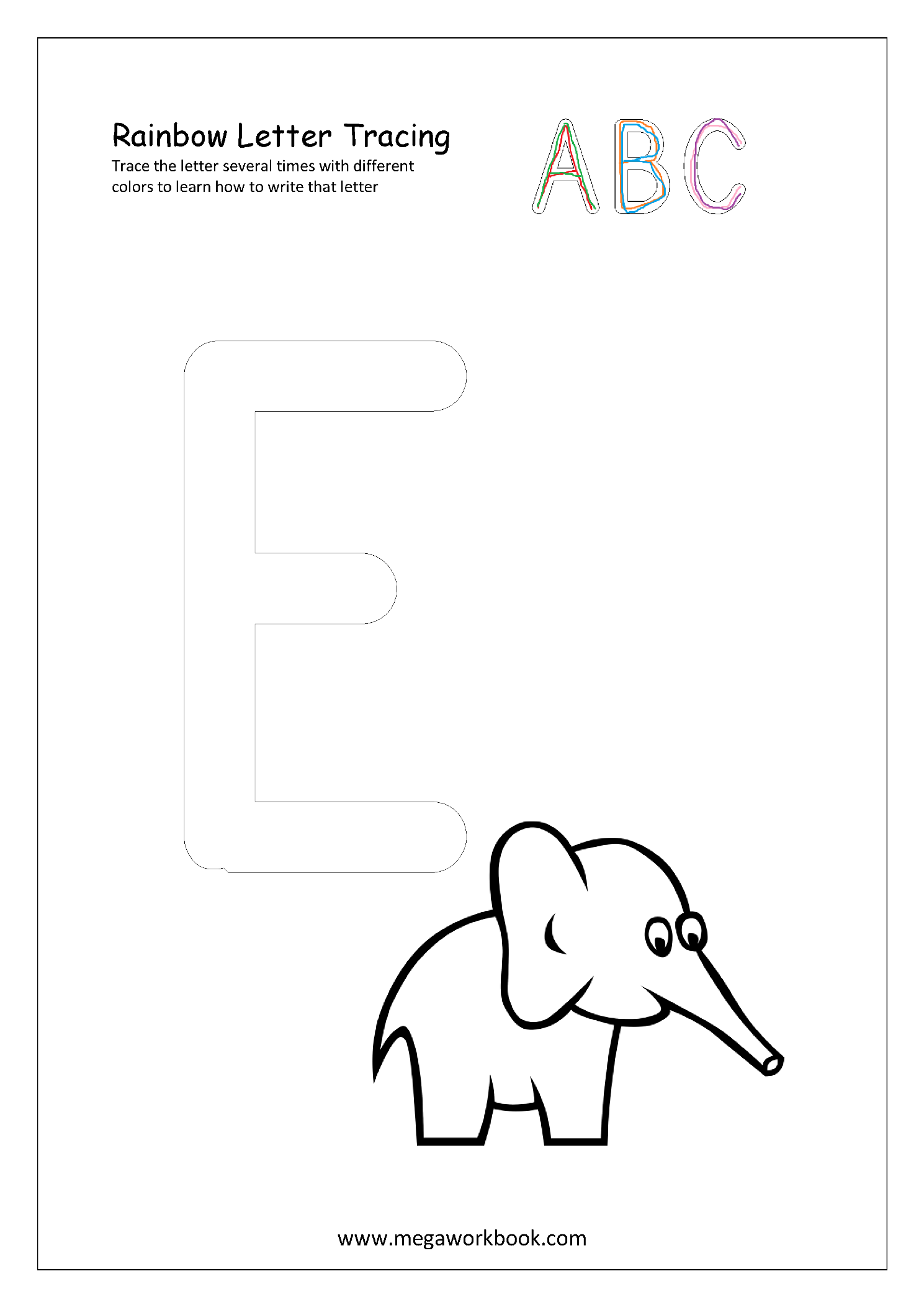 Free Printable Rainbow Writing Worksheets Rainbow Letter Tracing Objects Starting With Any Letter Megaworkbook