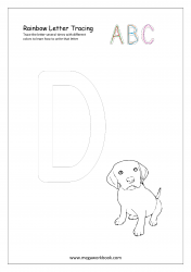 Rainbow Writing Worksheet - Alphabet/Letter Tracing - Capital D