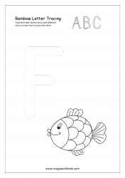 Rainbow Writing Worksheet - Alphabet/Letter Tracing - Capital F