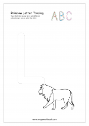 Rainbow Writing Worksheet - Alphabet/Letter Tracing - Capital L