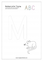Rainbow Writing Worksheet - Alphabet/Letter Tracing - Capital M