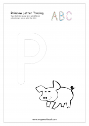 Rainbow Writing Worksheet - Alphabet/Letter Tracing - Capital P