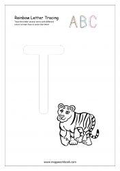 Rainbow Writing Worksheet - Alphabet/Letter Tracing - Capital T