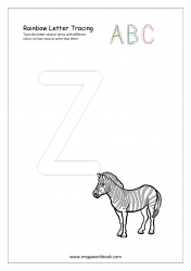 Rainbow Writing Worksheet - Alphabet/Letter Tracing - Capital Z