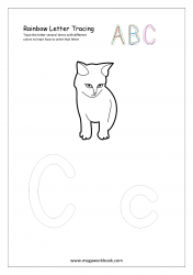 Rainbow Writing Worksheet - Letter Tracing - Capital and Small Alphabet C