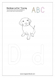Rainbow Writing Worksheet - Letter Tracing - Capital and Small Alphabet D