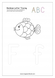 Rainbow Writing Worksheet - Letter Tracing - Capital and Small Alphabet F