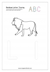 Rainbow Writing Worksheet - Letter Tracing - Capital and Small Alphabet L