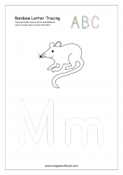 Rainbow Writing Worksheet - Letter Tracing - Capital and Small Alphabet M