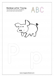 Rainbow Writing Worksheet - Letter Tracing - Capital and Small Alphabet P