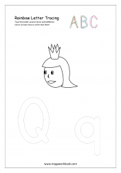 Rainbow Writing Worksheet - Letter Tracing - Capital and Small Alphabet Q