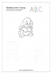 Rainbow Writing Worksheet - Letter Tracing - Capital and Small Alphabet R