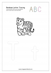 Rainbow Writing Worksheet - Letter Tracing - Capital and Small Alphabet T