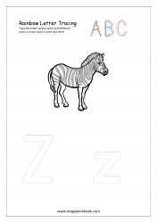 Rainbow Writing Worksheet - Letter Tracing - Capital and Small Alphabet Z
