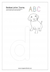 Rainbow Writing Worksheet - Alphabet/Letter Tracing - Small d