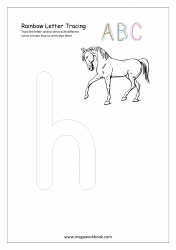 Playdough Letter Tracing - Rainbow Writing - Small h Worksheet