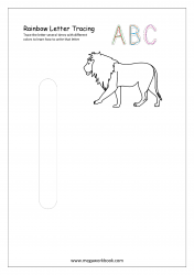 Rainbow Writing Worksheet - Alphabet/Letter Tracing - Small l