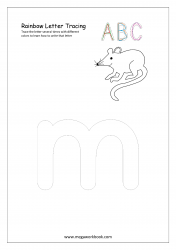 Rainbow Writing Worksheet - Alphabet/Letter Tracing - Small m