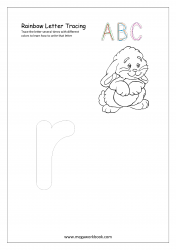 Rainbow Writing Worksheet - Alphabet/Letter Tracing - Small r