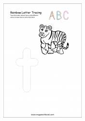 Rainbow Writing Worksheet - Alphabet/Letter Tracing - Small t