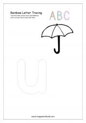 Rainbow Writing Worksheet - Alphabet/Letter Tracing - Small u