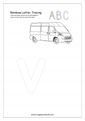 Rainbow Writing Worksheet - Alphabet/Letter Tracing - Small v